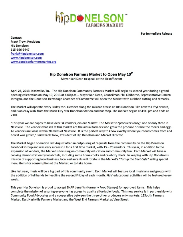 05.13 Hip Donelson Farmers Market Opening Press Release April 22 2013 copy